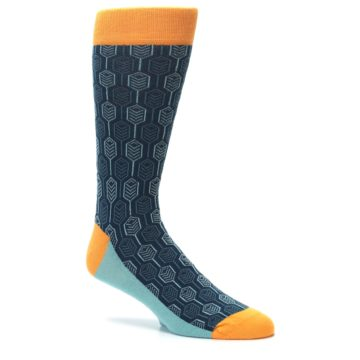 Image of Teal Orange Feather Optics Men's Dress Socks (side-1-26)