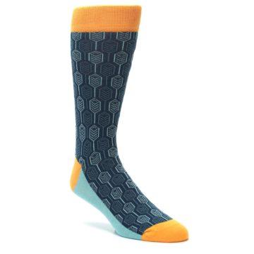 Image of Teal Orange Feather Optics Men's Dress Socks (side-1-27)