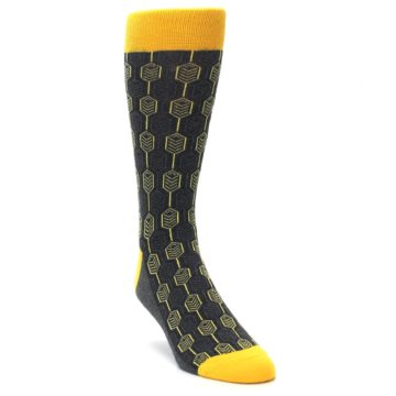 Image of Yellow Gray Feather Optics Men's Dress Socks (side-1-front-02)