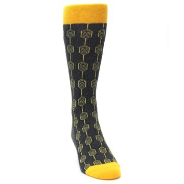 Image of Yellow Gray Feather Optics Men's Dress Socks (side-1-front-03)