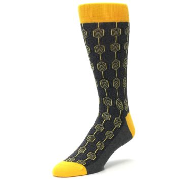 Image of Yellow Gray Feather Optics Men's Dress Socks (side-2-front-08)