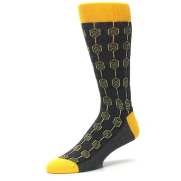Image of Yellow Gray Feather Optics Men's Dress Socks (side-2-09)