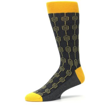 Image of Yellow Gray Feather Optics Men's Dress Socks (side-2-10)