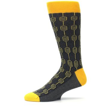 Image of Yellow Gray Feather Optics Men's Dress Socks (side-2-11)