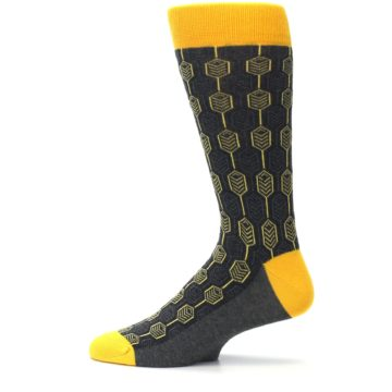 Image of Yellow Gray Feather Optics Men's Dress Socks (side-2-12)