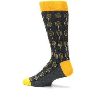 Image of Yellow Gray Feather Optics Men's Dress Socks (side-2-13)