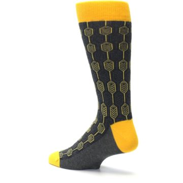 Image of Yellow Gray Feather Optics Men's Dress Socks (side-2-back-14)