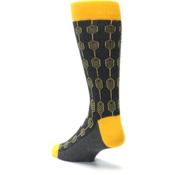 Image of Yellow Gray Feather Optics Men's Dress Socks (side-2-back-15)