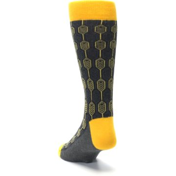 Image of Yellow Gray Feather Optics Men's Dress Socks (side-2-back-16)