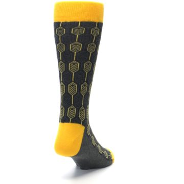 Image of Yellow Gray Feather Optics Men's Dress Socks (side-1-back-20)