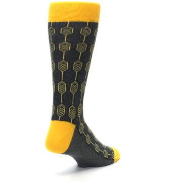 Image of Yellow Gray Feather Optics Men's Dress Socks (side-1-back-21)