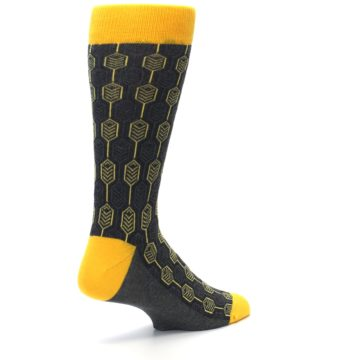 Image of Yellow Gray Feather Optics Men's Dress Socks (side-1-back-22)