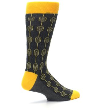 Image of Yellow Gray Feather Optics Men's Dress Socks (side-1-23)