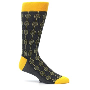 Image of Yellow Gray Feather Optics Men's Dress Socks (side-1-25)