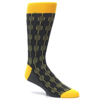 Image of Yellow Gray Feather Optics Men's Dress Socks (side-1-26)