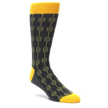 Image of Yellow Gray Feather Optics Men's Dress Socks (side-1-27)