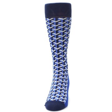 Image of Blue Navy Optical Y Men's Dress Socks (front-05)