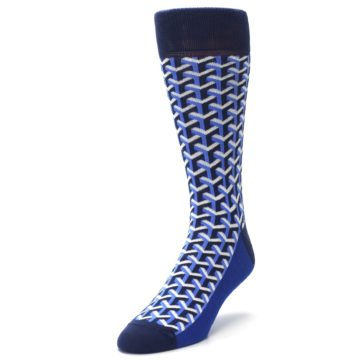Image of Blue Navy Optical Y Men's Dress Socks (side-2-front-07)