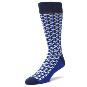 Image of Blue Navy Optical Y Men's Dress Socks (side-2-front-08)