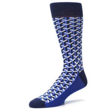 Image of Blue Navy Optical Y Men's Dress Socks (side-2-09)