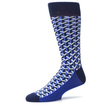 Image of Blue Navy Optical Y Men's Dress Socks (side-2-10)