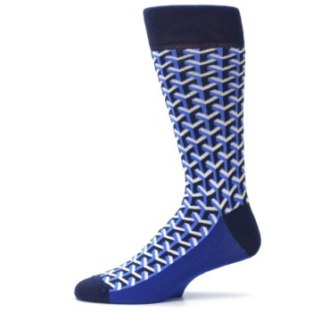 Image of Blue Navy Optical Y Men's Dress Socks (side-2-11)