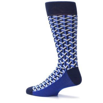 Image of Blue Navy Optical Y Men's Dress Socks (side-2-13)