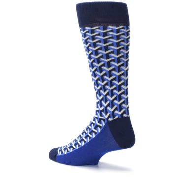 Image of Blue Navy Optical Y Men's Dress Socks (side-2-back-14)
