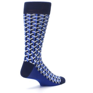 Image of Blue Navy Optical Y Men's Dress Socks (side-1-back-22)