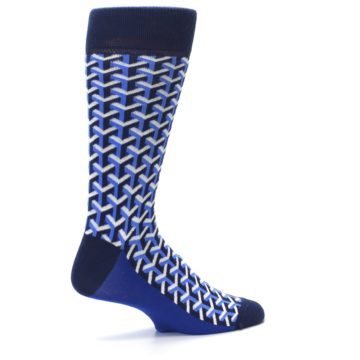 Image of Blue Navy Optical Y Men's Dress Socks (side-1-23)