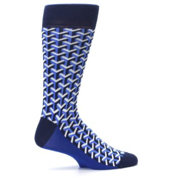 Image of Blue Navy Optical Y Men's Dress Socks (side-1-24)