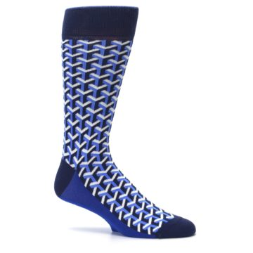 Image of Blue Navy Optical Y Men's Dress Socks (side-1-25)
