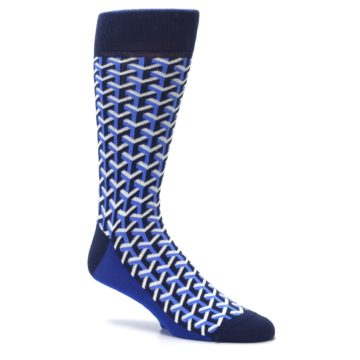 Image of Blue Navy Optical Y Men's Dress Socks (side-1-26)