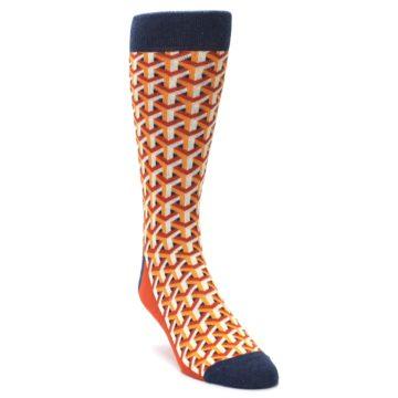 Image of Orange Navy Optical Y Men's Dress Socks (side-1-front-02)