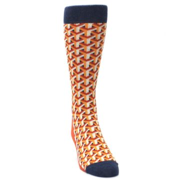 Image of Orange Navy Optical Y Men's Dress Socks (side-1-front-03)