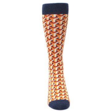 Image of Orange Navy Optical Y Men's Dress Socks (front-04)