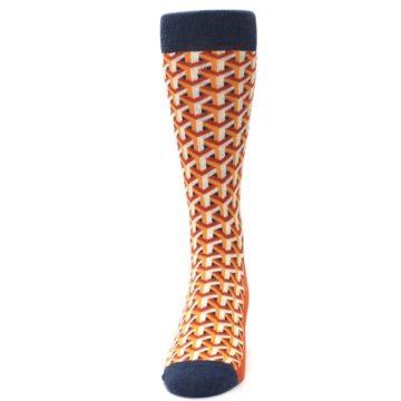 Image of Orange Navy Optical Y Men's Dress Socks (front-05)