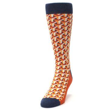 Image of Orange Navy Optical Y Men's Dress Socks (side-2-front-06)