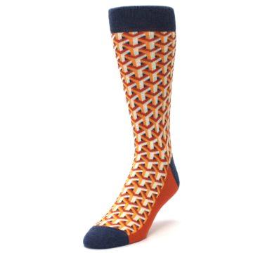 Image of Orange Navy Optical Y Men's Dress Socks (side-2-front-07)