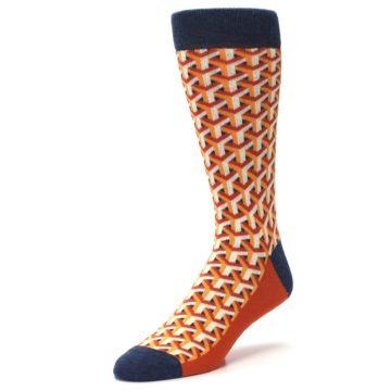 Image of Orange Navy Optical Y Men's Dress Socks (side-2-front-08)