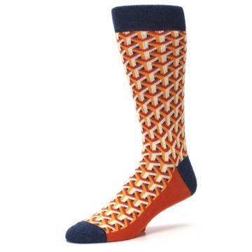 Image of Orange Navy Optical Y Men's Dress Socks (side-2-09)