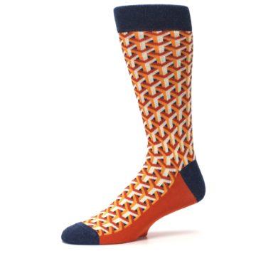 Image of Orange Navy Optical Y Men's Dress Socks (side-2-10)