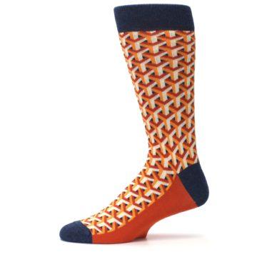 Image of Orange Navy Optical Y Men's Dress Socks (side-2-11)