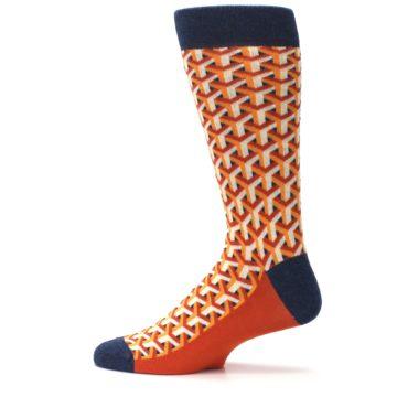 Image of Orange Navy Optical Y Men's Dress Socks (side-2-12)