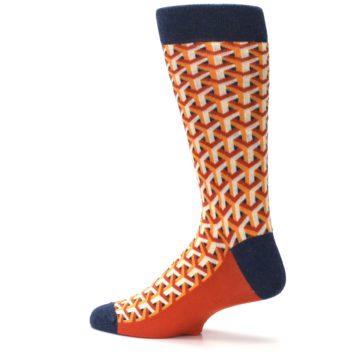 Image of Orange Navy Optical Y Men's Dress Socks (side-2-13)