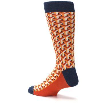 Image of Orange Navy Optical Y Men's Dress Socks (side-2-back-14)
