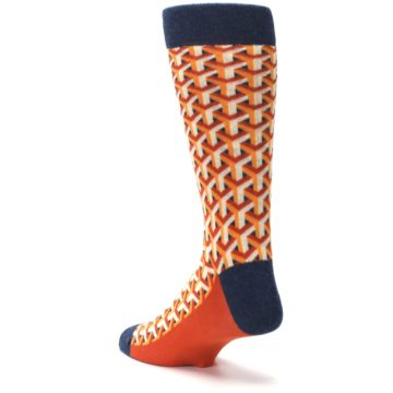 Image of Orange Navy Optical Y Men's Dress Socks (side-2-back-15)