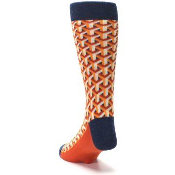 Image of Orange Navy Optical Y Men's Dress Socks (side-2-back-16)