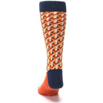Image of Orange Navy Optical Y Men's Dress Socks (back-17)
