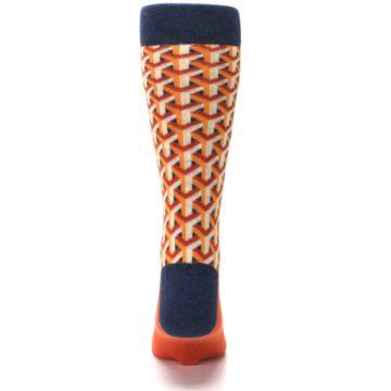 Image of Orange Navy Optical Y Men's Dress Socks (back-18)